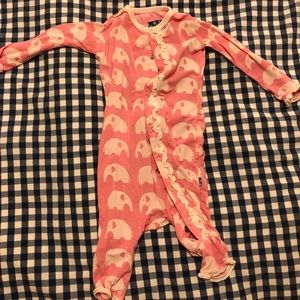 Kickee Pants Snap Footless Coveralls - Elephants!